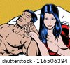 comic book pop art illustration of lovers in bed - stock photo