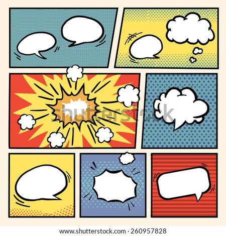 comic book style speech bubbles set over colorful background - stock photo