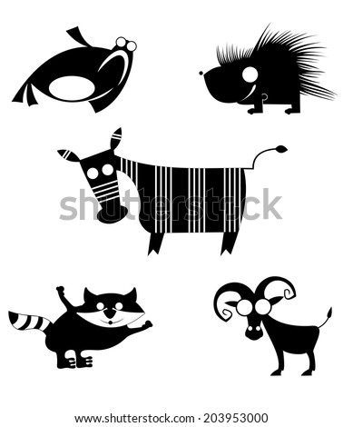 Comic cartoon funny animals set for design  - stock photo