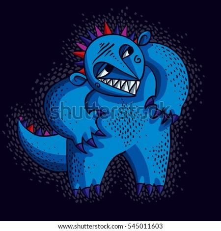 Comic Character Blue Funny Alien Monster Stock Illustration