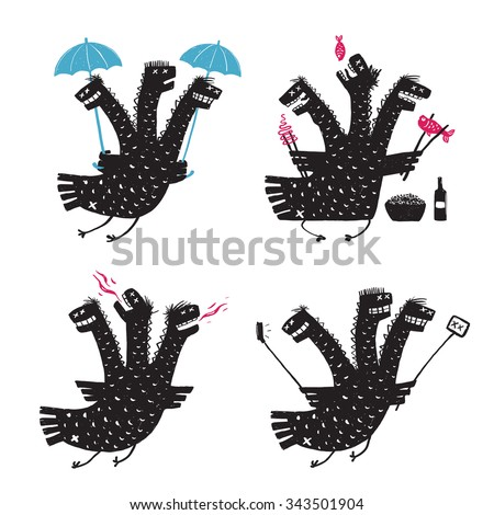Comic Dragon Bad Character Traits Rough Hand Drawn Print Designs Set. A humorous monster addiction and temper illustration collection. Three headed funny dragon. Raster variant. - stock photo