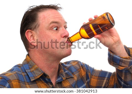 Comic image of a Middle Aged Man Drinking a Bottle of Beer isolated on white