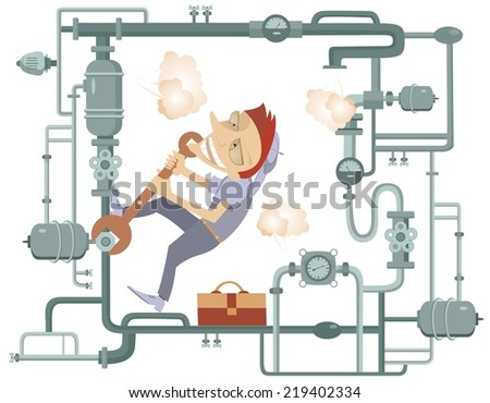 Comic mechanic hardly tightens the bolt and repairs pipe construction illustration - stock photo