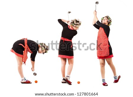 Comic scene - housewife in golf player pose with soup ladle - stock photo