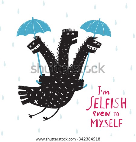 Comic Selfish Dragon in Rain with Umbrella Rough Hand Drawn Print Design. A humorous smiling egoist monster bad character trait black and white illustration. Three headed dragon. Raster variant. - stock photo