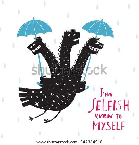 Comic Selfish Dragon in Rain with Umbrella Rough Hand Drawn Print Design. A humorous smiling egoist monster bad character trait black and white illustration. Three headed dragon. Raster variant. - stock photo
