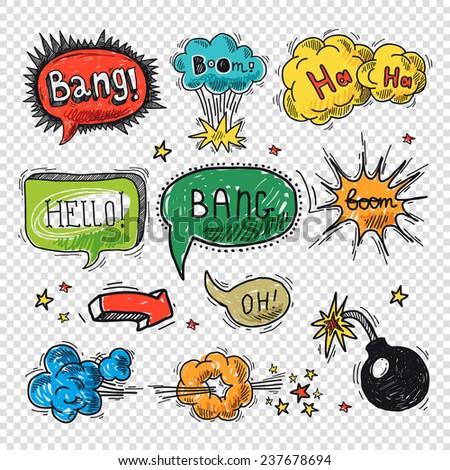 Comic speech bubble hand drawn design element symbol boom splash bomb  illustration. - stock photo