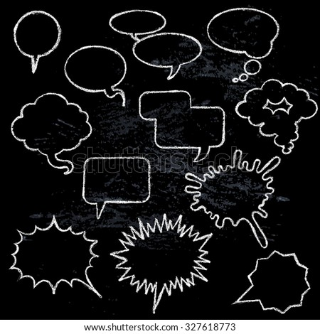 Comic speech bubbles icons collection various shapes on black background white outlined contours abstract isolated  illustration