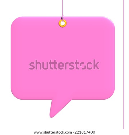 Comic Square label, rectangle fixed by a rivet and hung on by a pink thread, isolated on white background - stock photo