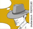 comic style drawing of a man with a retro hat and a speech bubble for your text - stock
