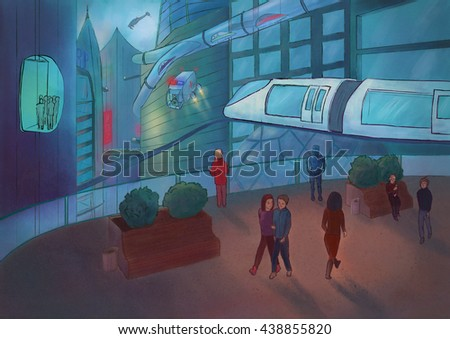 Comic style illustration of sci-fi city. People are walking on the streets. Flying cars, skyscrapers and robots. - stock photo