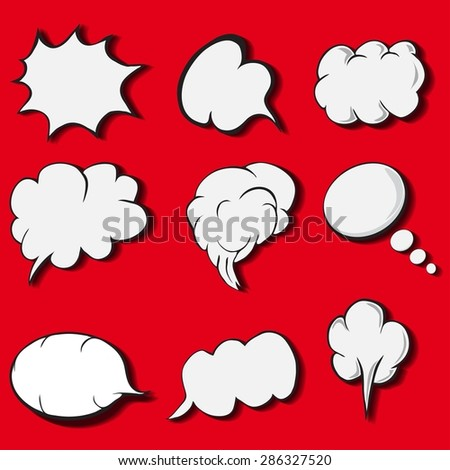 Comic style speech bubbles collection. Funny design items illustration - stock photo