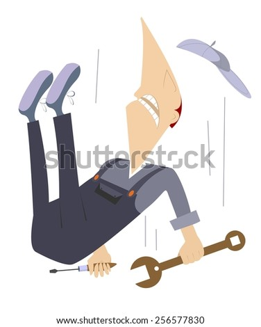 Comic worker is falling down from high construction - stock photo