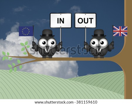 Comical bird campaigners for the United Kingdom in or out European Union referendum - stock photo