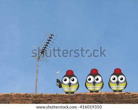 Comical bird workmen repairing a television aerial on a rooftop against a clear blue sky - stock photo