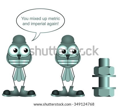 Comical construction worker mixing up metric and imperial sizes - stock photo
