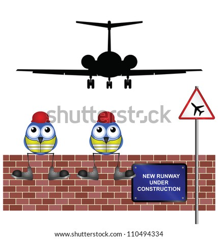 Comical construction workers building new airport runway - stock photo