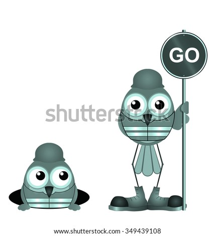 Comical construction workers with go sign isolated on white background - stock photo