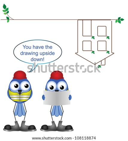 Comical construction workers with upside down plan drawing - stock photo