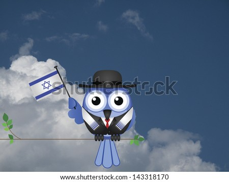 Comical Israeli flag waving bird Patriot sat on a tree branch against a cloudy blue sky - stock photo