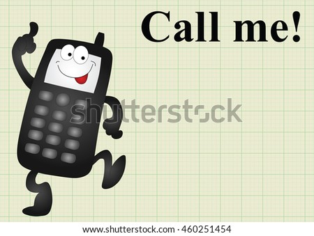 Comical mobile telephone and call me on graph paper background with copy space for own text - stock photo