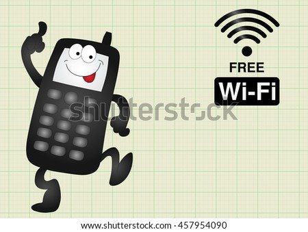 Comical mobile telephone and free wifi connection on graph paper background with copy space for own text - stock photo