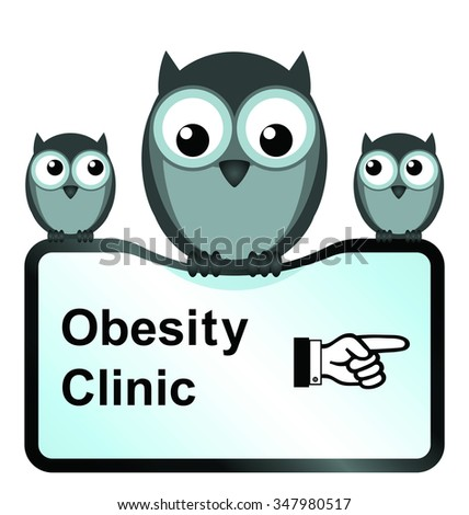 comical obesity clinic sign isolated on white background