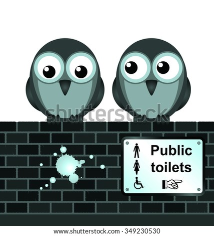 comical toilet sign on brick wall isolated on white background