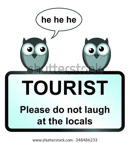 comical tourist sign with owls isolated on white background