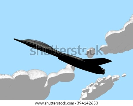 Comics-style illustration of a side view futuristic fictional black stealth jet aircraft flying with a cloudy Sky in background
