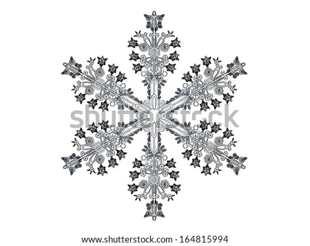 Comics-style  illustration of a snowflake on a white background, referring to concepts such as wintertime, snow, cold weather, meteorology, as well as Christmas and New Year�s Eve - stock photo