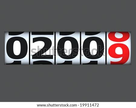 coming new year on an automobile odometer - stock photo