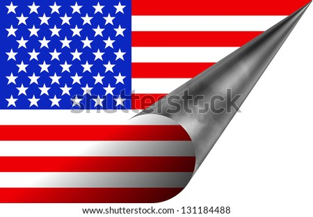 Coming off label type of American flag. - stock photo