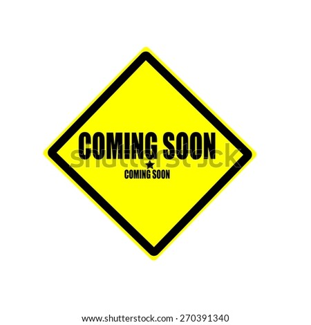 Coming soon black stamp text on yellow background - stock photo
