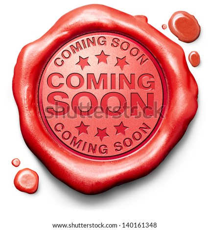 coming soon brand new product release next up promotion and announce red label icon or stamp - stock photo