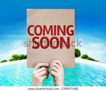 Coming Soon card with a beach background - stock photo