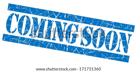 Coming soon grunge blue stamp - stock photo
