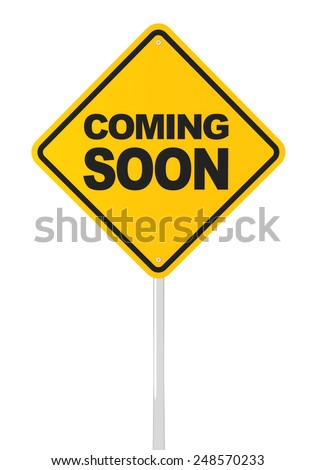 Coming soon road sign, 3d render, white background