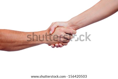 Coming to terms with a handshake isolated on a white background
