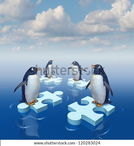 Coming together with common purpose to assemble a team partnership to form a strong group with four penguins merging floating chunks of ice in the shape of puzzle pieces as insurance.. - stock photo