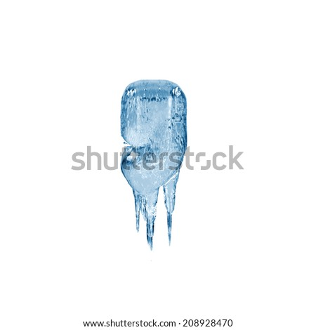 Comma. Ice font isolated on white background. Alphabet. - stock photo