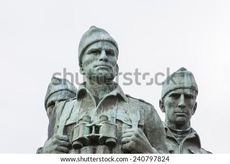 Commando Memorial at Spean Bridge in Scotland. - stock photo