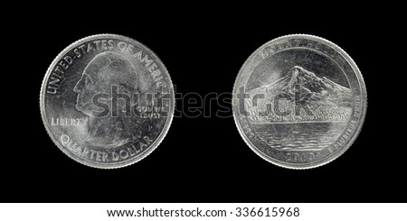 Commemorative coin 25 cents 2010. America the Beautiful Quarters.  Oregon. Mt. Hood National Forest. - stock photo
