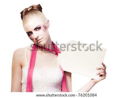 Commerce And Consumer Sale With A Mannequin Wearing A Price Tag Label Selling Herself In A Retail Concept, Studio Shot On White Background - stock photo