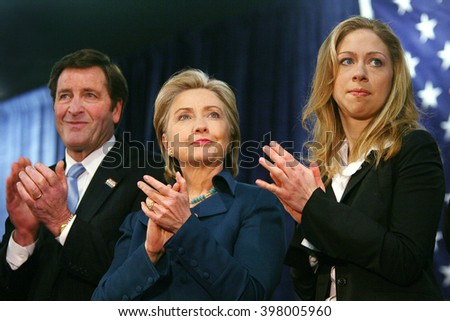 Commerce, California, USA, Jan 11, 2008 - California Lt. Gov. John Garamendi, Democratic Presidential candidate Hillary Clinton and Chelsea Clinton during a campaign stop in Los Angeles, California.