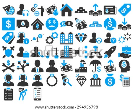 Commerce Icon Set. These flat bicolor icons use blue and gray colors. Glyph images are isolated on a white background.  - stock photo