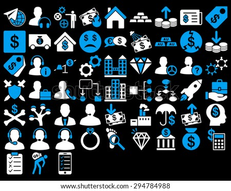 Commerce Icon Set. These flat bicolor icons use blue and white colors. Glyph images are isolated on a black background.  - stock photo