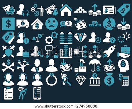 Commerce Icon Set. These flat bicolor icons use blue and white colors. Glyph images are isolated on a dark blue background.  - stock photo