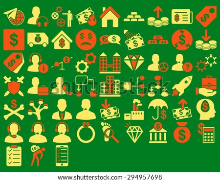 Commerce Icon Set. These flat bicolor icons use orange and yellow colors. Glyph images are isolated on a green background.  - stock photo