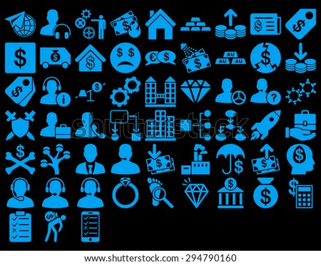 Commerce Icon Set. These flat icons use blue color. Glyph images are isolated on a black background.  - stock photo